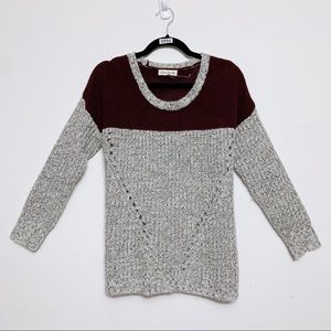 Olive & Oak Grey and Burgundy Chunky Knit Sweater